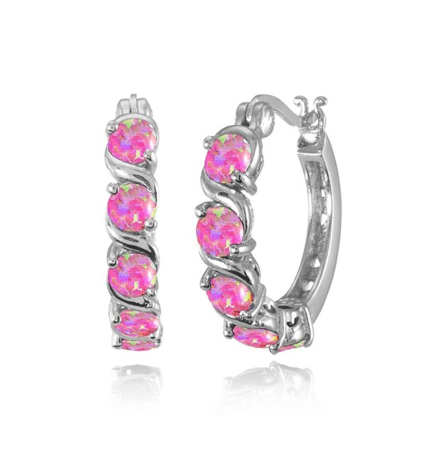 Sterling Silver Simulated Opal S Design Round Hoop Earrings - Simulated Pink Opal - CH185TZWQD4