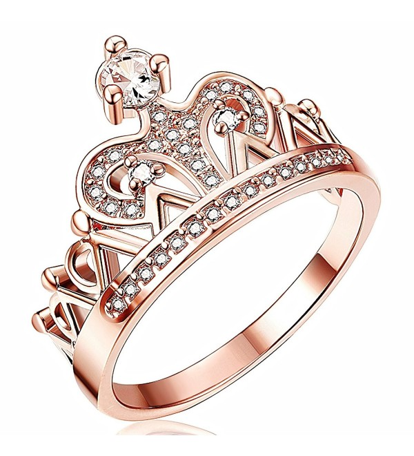 Thunaraz Rose Gold Tone Princess Crown Ring for Girls CZ Band Rings for Women - C9188NYG9EQ