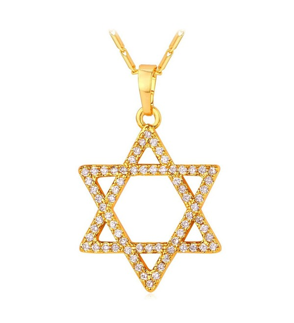Cubic Zirconia Star of David Pendant Necklace - Gold - CH12MYLUN93