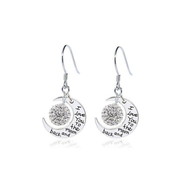 NYC Sterling Women Engraved To The Moon and Back Drop Earrings - CR12NRWP7AL