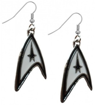Star Trek Starfleet Logo Black and White Dangle Earrings w/Gift Box - CG12CMOTPW7