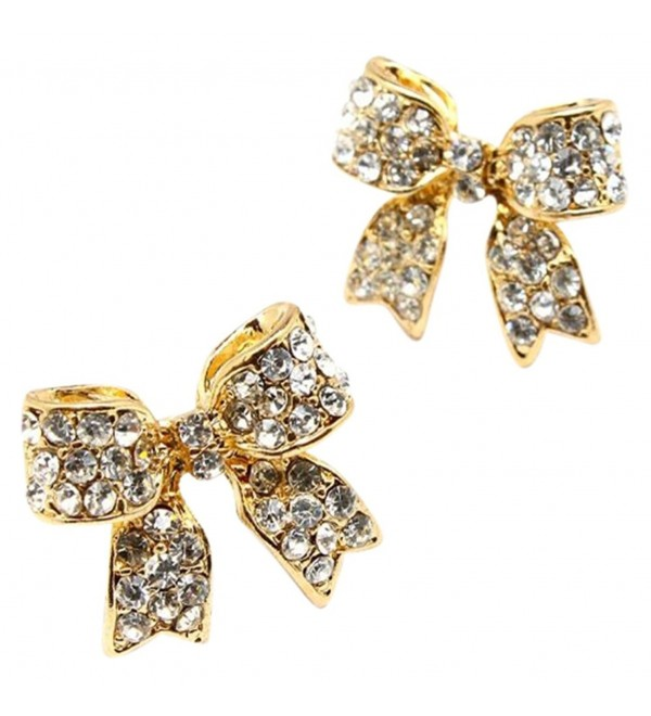 "Adorable 3/4"" Easter Ribbon Bow Crystal Stud Earrings Fashion Jewelry Gift - Gold Tone - C4110UIJ1N1"