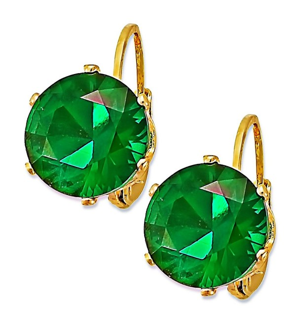10mm Emerald CZ 14K Yellow Gold Plated Huggies Earrings-EM - CZ12M8WFX47