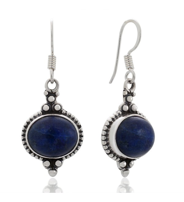 "925 Sterling Silver Natural Gemstone Indian Inspired Vintage Oval Dangle Hook Earrings 1.5"" - Lapis Lazuli - C312BOY8AXP"