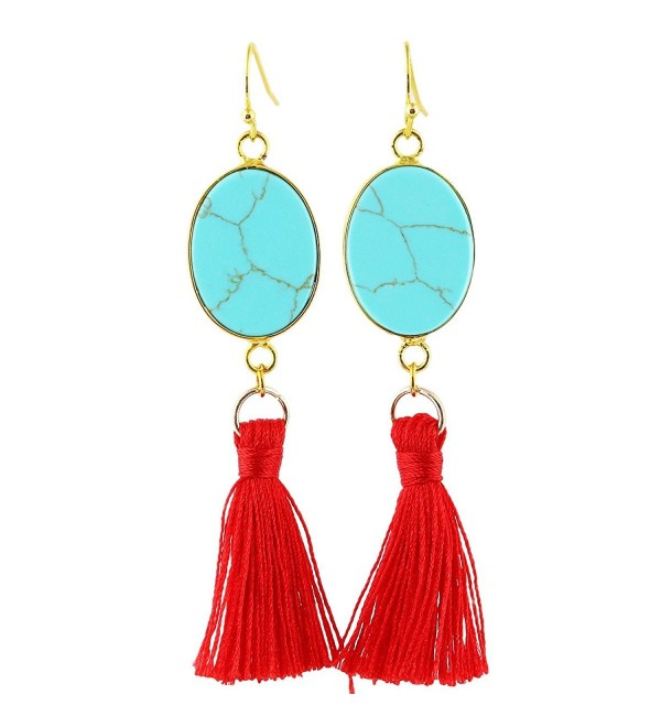 SUNYIK Howlite Turquoise Tassel Earrings - Green Howlite Turquoise(Oval) - C9185U82C7M