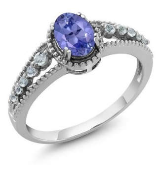 1.00 Ct Oval Tanzanite & White Topaz 925 Sterling Silver Women's Ring (Available in size 5- 6- 7- 8- 9) - CX11F55W5VT
