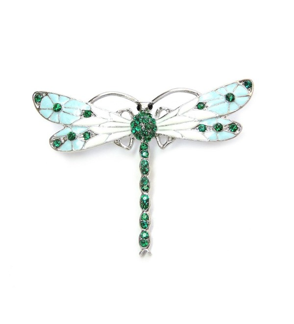 Faship Gorgeous Emerald Color Green Crystal Dragonfly Pin Brooch - CX11TARUNWF