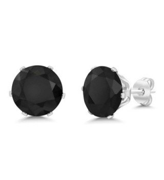 5.50 Ct Big 10MM Black Round Onyx Gemstone Birthstone Stud Earring - C3115A838DT