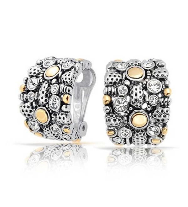 Bling Jewelry Gold Plated Rhodium Plated Brass Two Tone Crystal Half Hoop Clip On Earrings - CE118WHHDZ5