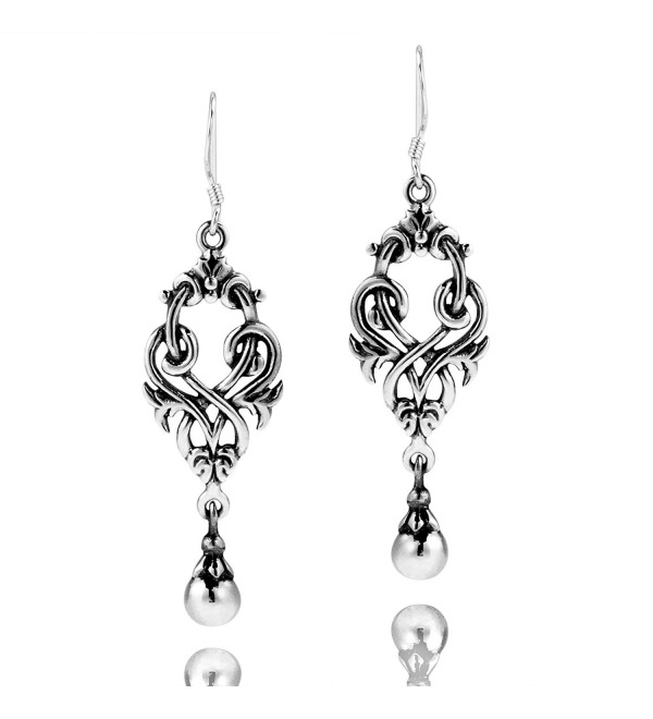 Exquisite Celtic Knots Ball Drop .925 Sterling Silver Fish Hook Earrings - CW11GFOTNI7