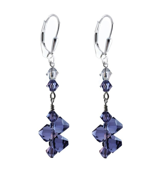 Top Drilled Tanzanite Colored Earrings made with Swarovski Crystal elements- Sterling Silver Lever-back - CU11TBSO3CZ