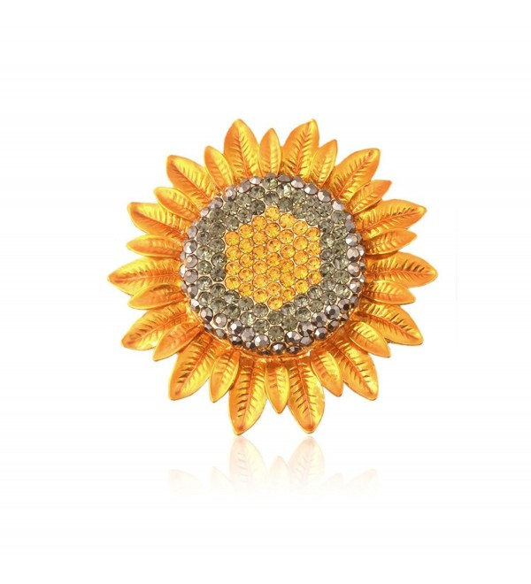 TTjewelry Fashion Jewelry Charming Sunflower Flowers Yellow Rhinestone Crystal Brooch Pin - C612LYAH049