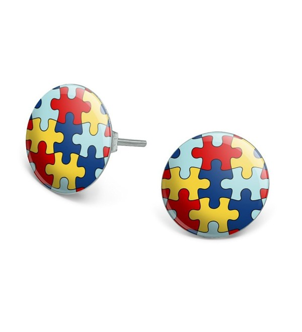 Autism Awareness Diversity Puzzle Pieces Novelty Silver Plated Stud Earrings - C11865RE9NX