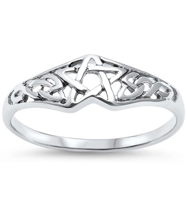 Sterling Silver Pentagram Celtic Star Ring Band - CU1825QYGNI