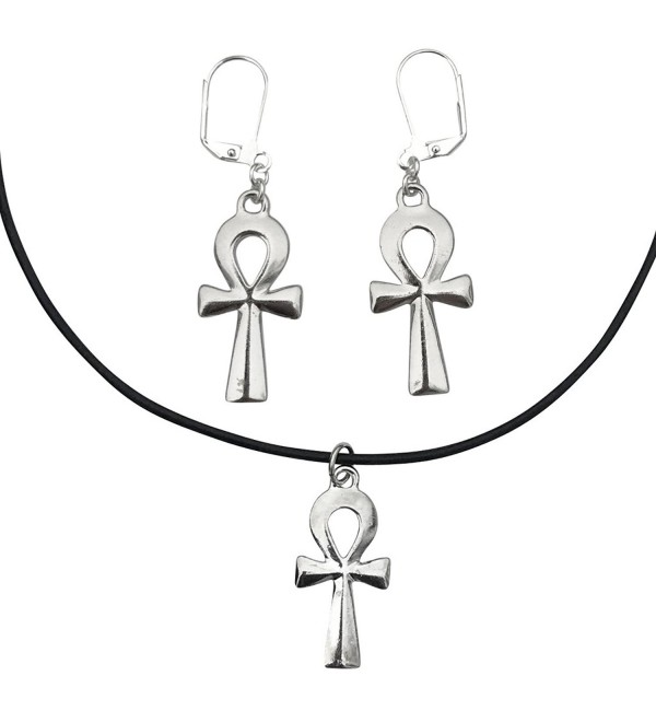 DragonWeave Anhk Charm Necklace & Earring Set- Silver Plated Black Leather Adjustable Choker - CP182KH5MU0