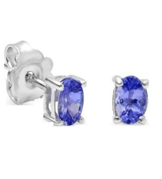 Genuine Oval Tanzanite Stud Earrings in Sterling Silver ( 6 x 4mm 7/8ct tw) - CH1198F5ZXR