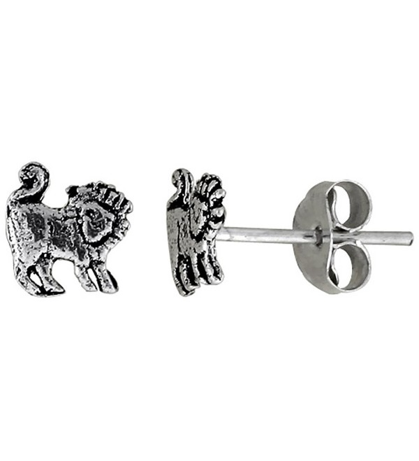 Tiny Sterling Silver Lion Stud Earrings 5/16 inch - CK111B26VN3