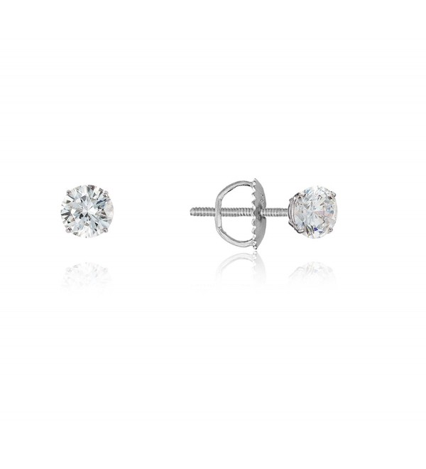 925 Sterling Silver Rhodium Plated 3-8mm Cubic Zirconia Stud Screwback womens Earrings - CO11YAQ1ACH