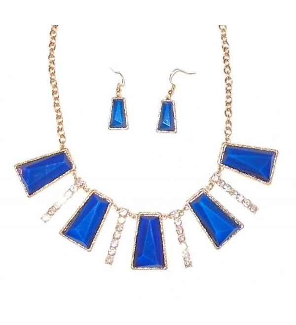 Blue and Crystal Necklace and Earrings - CK12NSAKCIF