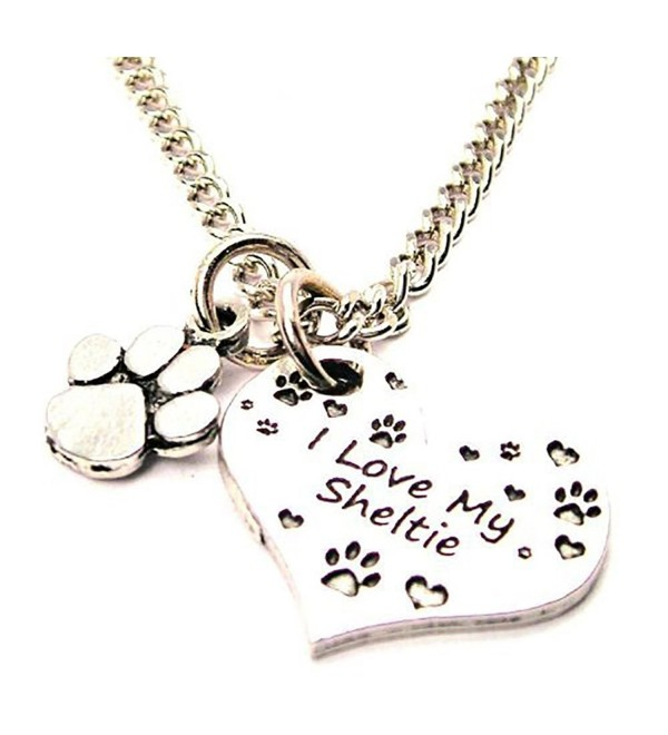 "I Love My Sheltie with Paw Print Pewter Charm 18"" Fashion Necklace - C911FOPN61D"