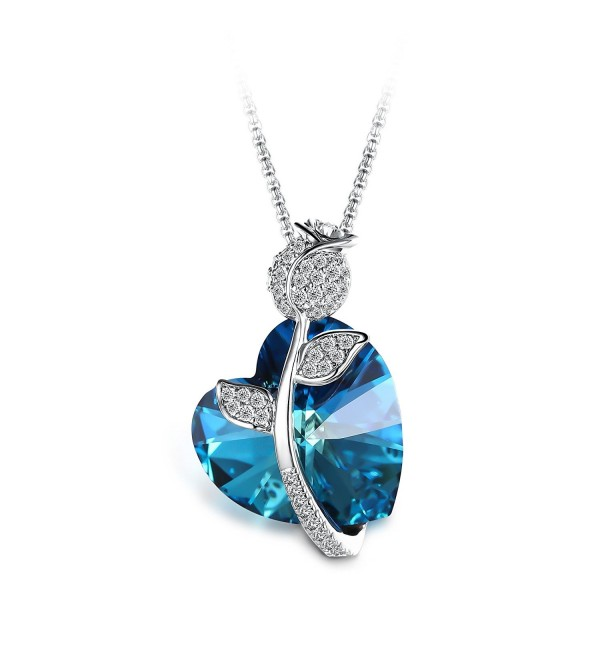 T400 Jewelers Heart Pendant Necklace Made with Swarovski Crystals Jewelry for Women - Rose - C717Z24538T