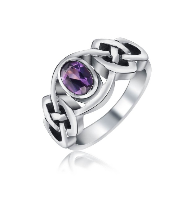 Bling Jewelry Alexandrite Celtic Knot Band Sterling Silver Ring - CH11F9J84YN