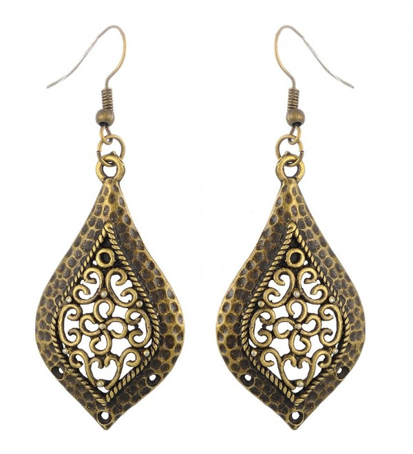 MJartoria Teardrop Filigree Flower Hammered Dangle Earrings - C511X009WCB