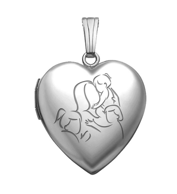 "Sterling Silver ""Mom with Three Daughters"" Heart Locket 3/4 Inch X 3/4 Inch - CV11EF6331F"