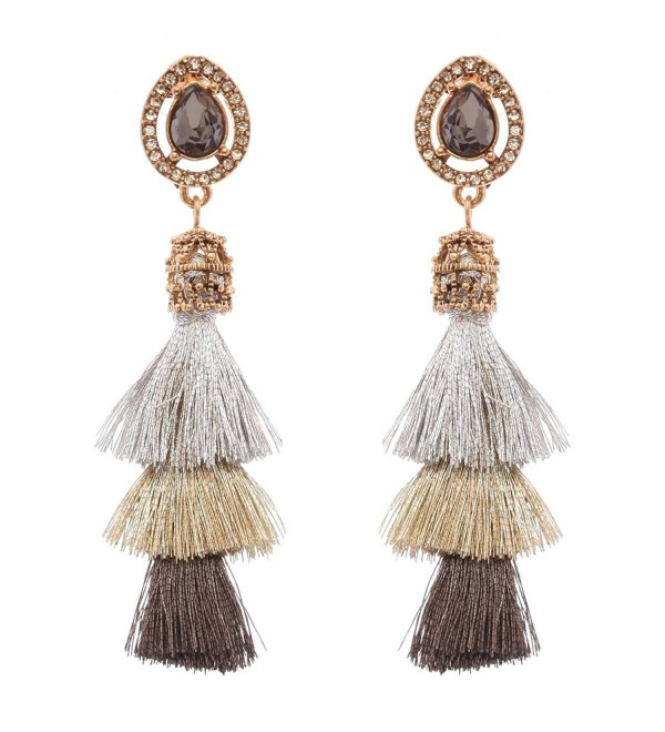 Women's Victorian Style Teardrop Stone 3 Layered Tassel Dangle Pierced Earrings - Silver-Tone Mix - C5186SEA90U
