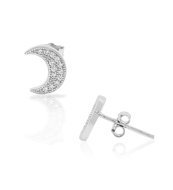 925 Sterling Silver CZ Half-Moon Crescent Womens Girls Small Stud Earrings - CV11T13S07T
