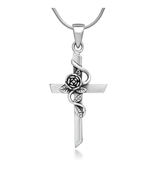 925 Oxidized Sterling Silver Vintage Rose Vine with Leaf Cross Pendant Necklace- 18 inches - CJ11V0OJBN9