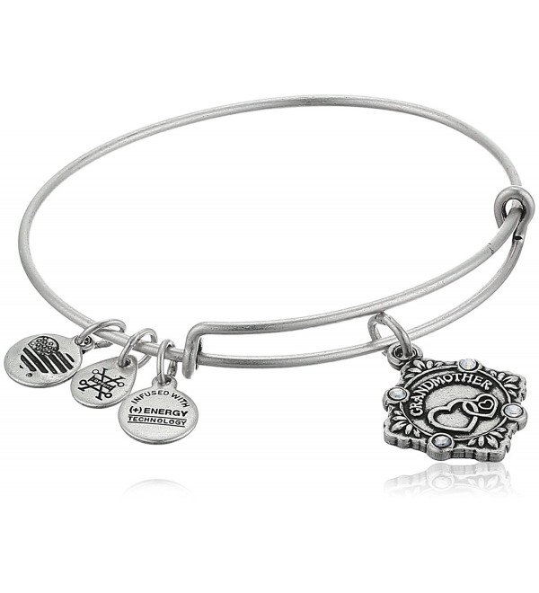 Alex and Ani Womens Because I Love You Grandmother III Bangle - Rafaelian Silver - CS1809U5HXU