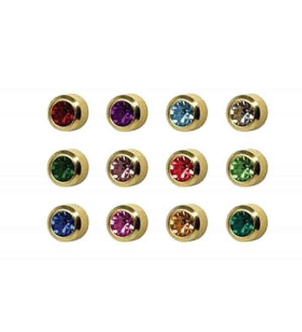 Surgical Steel Gold 4mm Ear Piercing Earrings Studs 12 Pair Mixed Birth Stones - CW11CJTU56V