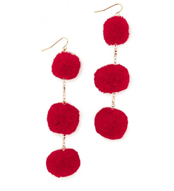 Vanessa Mooney Womens The Dragnet Pom Poms Earrings - Red - CD12ODVY5UH