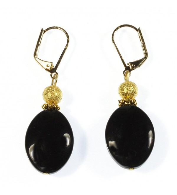 Black Lynx Pure Black Onyx (dyed) Earrings- Dangle 1.75 Inches - CF12N2P157Z
