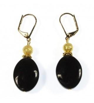 Black Lynx Pure Black Onyx (dyed) Earrings- Dangle 1.75 Inches - CF12N2P157Z