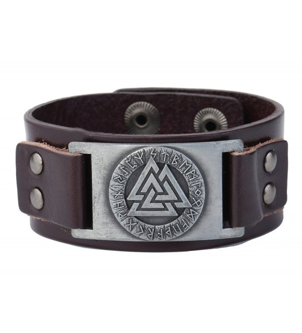 Wicca Jewelry Odin 24 Norse Runes Slavic Amulet Sigil Gothic Cuff Leather Bracelet - Antique Silver-Brown - CY1879SIOAQ