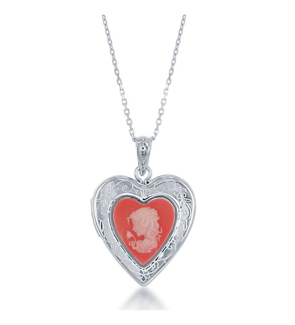 "Sterling Silver Pink Cameo Heart Locket with 18"" Chain - CK12G8RZBUT"