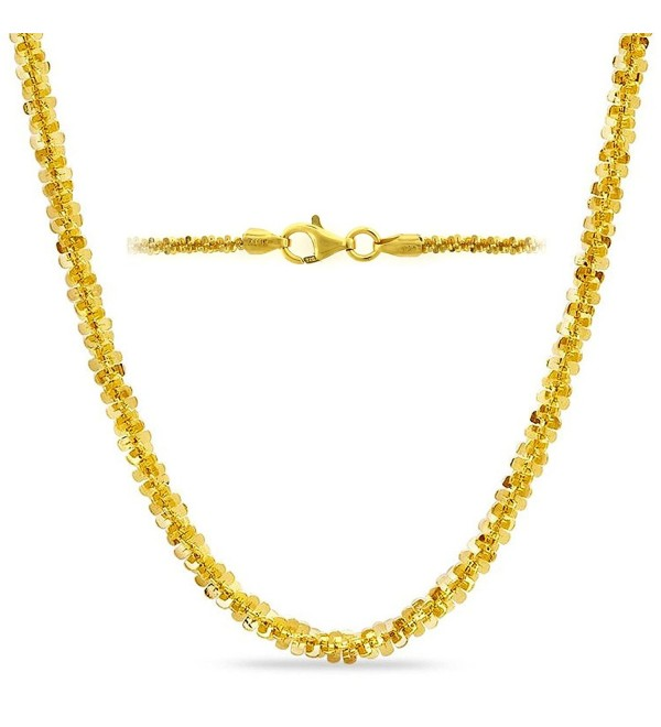 ".925 Sterling Silver Womens Sparkle Chain Yellow Gold Plated Italy 2.2mm 18"" 20"" 24"" - C6129VZDSFZ"