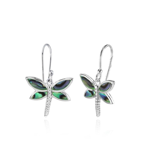 Sterling Silver Abalone or Simulated Turquoise Polished Dragonfly Dangle Earrings - Abalone - C8187QEX5KQ