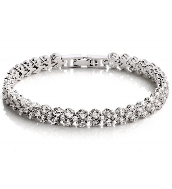 Gold Plated Tennis Bracelet With Clear Austrian Crystal Wedding Jewelry For Women Bridal BCW041 - CW11FI0RWDR