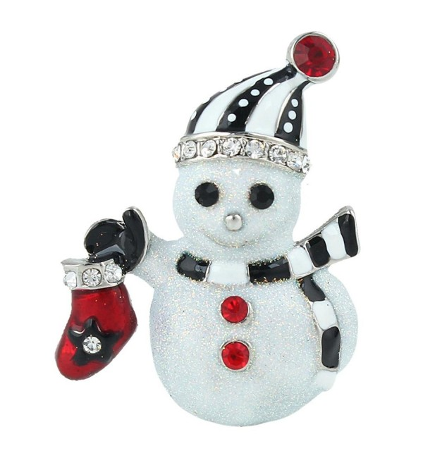 EVER FAITH Winter Snowman Scarf Red Stocking Brooch Clear Crystal White Enamel - Silver-Tone - C511Q2ZY39X