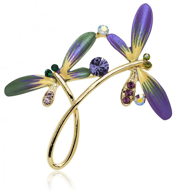 Akianna Hand Painted Swarovski Element Dragonfly Brooch Pin - Purple - CP129F4PMND