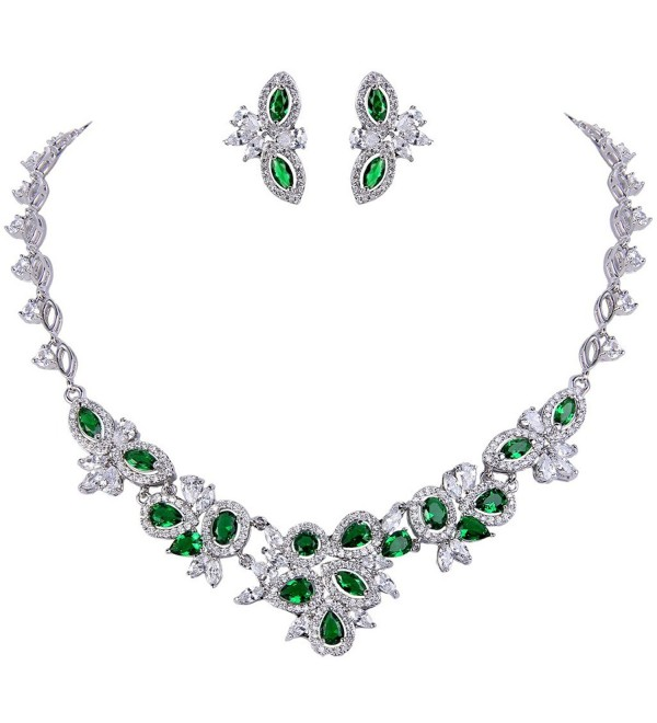 EVER FAITH Women's Graceful CZ Marquise Shape Leaf Cluster Necklace Earrings Set Silver-Tone - Green - CF12D629UQP