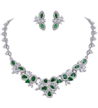 EVER FAITH Women's Graceful CZ Marquise Shape Leaf Cluster Necklace Earrings Set Silver-Tone - Green - CF12D629UQP
