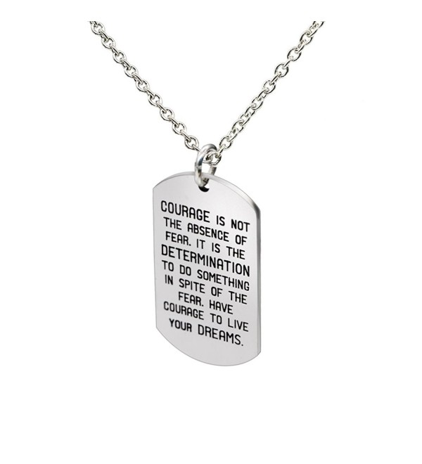 lauhonmin Pendant Necklace Courage is Not The Absence of Fear It is the Determination To Do Inspire Words - C8182OAKGW3