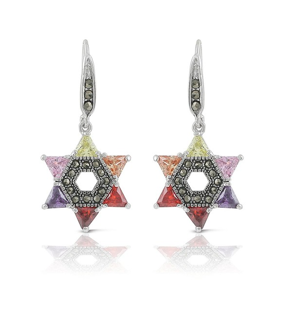 JanKuo Jewelry Rhodium Plated Multicolor Cubic Zirconia Jewish Star of David Marcasite Earrings - C311XLQQQO1