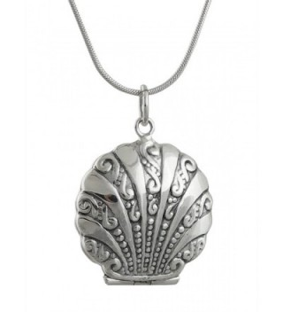 """Sterling Silver Nautical Sea Shell Two Photo Locket Necklace- 18"""" Snake Chain - CM1202DUHUJ"""