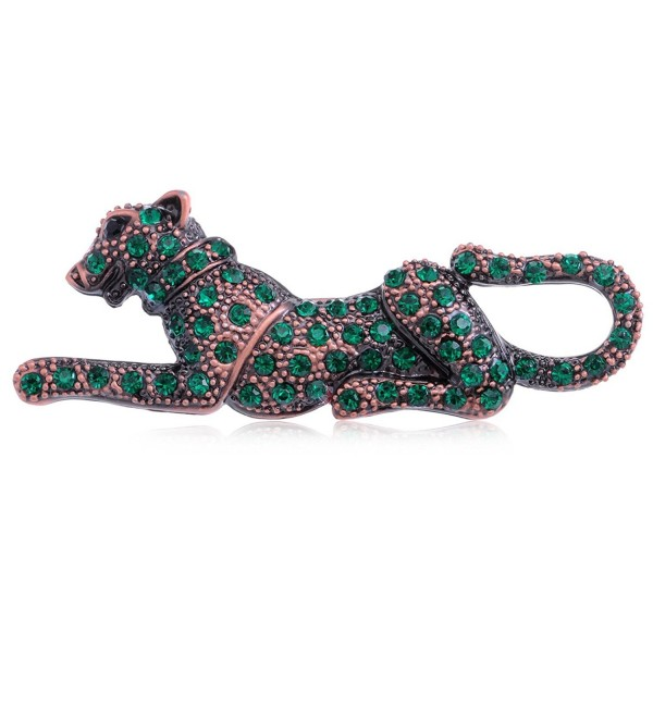 Alilang Reproduct Emerald Crystal Green Leopard Pin Custom Style Brooch - CH113AGX5GX