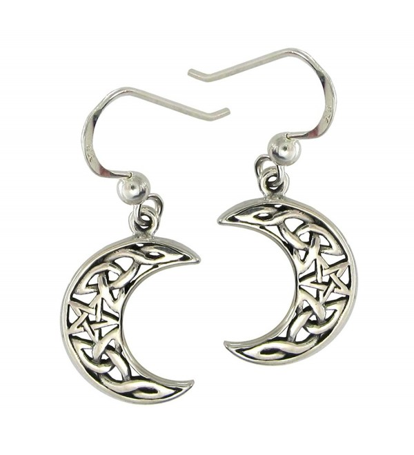 Sterling Silver Celtic Knot Moon and Star Dangle Earrings - CV11KWZG8ZV